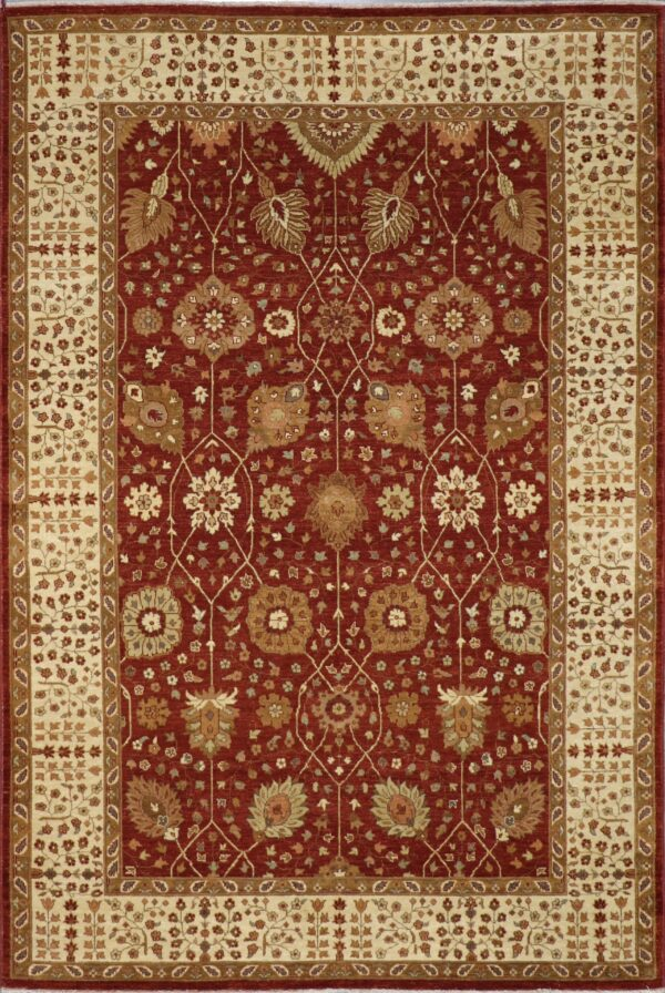 6'x9' Traditional Burgundy Heriz Wool & Silk Hand-Knotted Rug - Direct Rug Import | Rugs in Chicago, Indiana,South Bend,Granger
