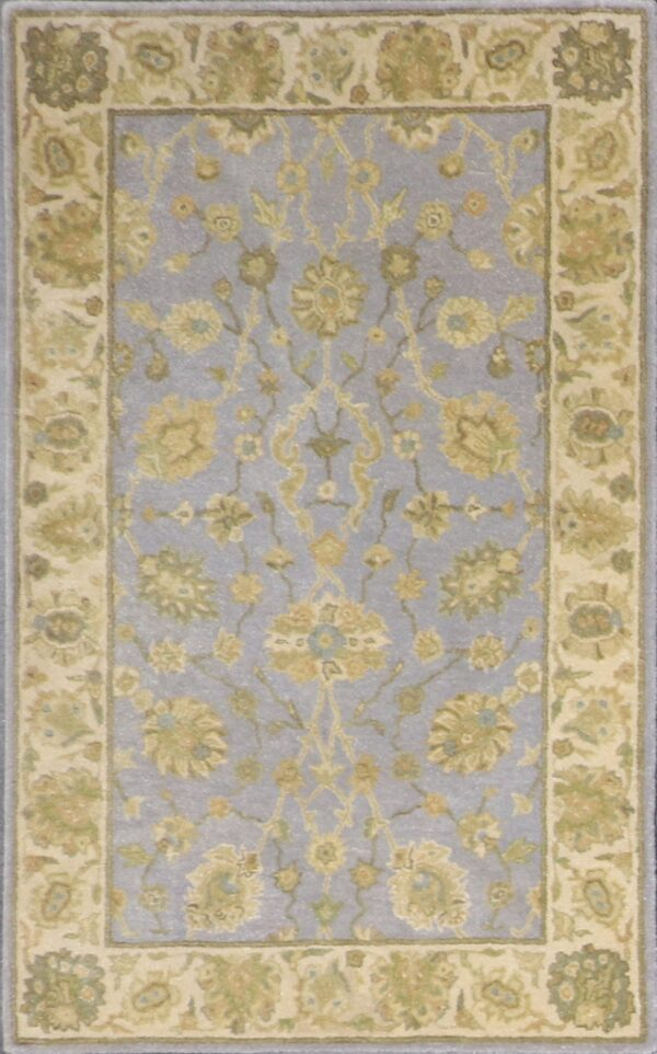 """3'7""""x5'6"""" Decorative Light Blue Wool Hand-Tufted Rug - Direct Rug Import 