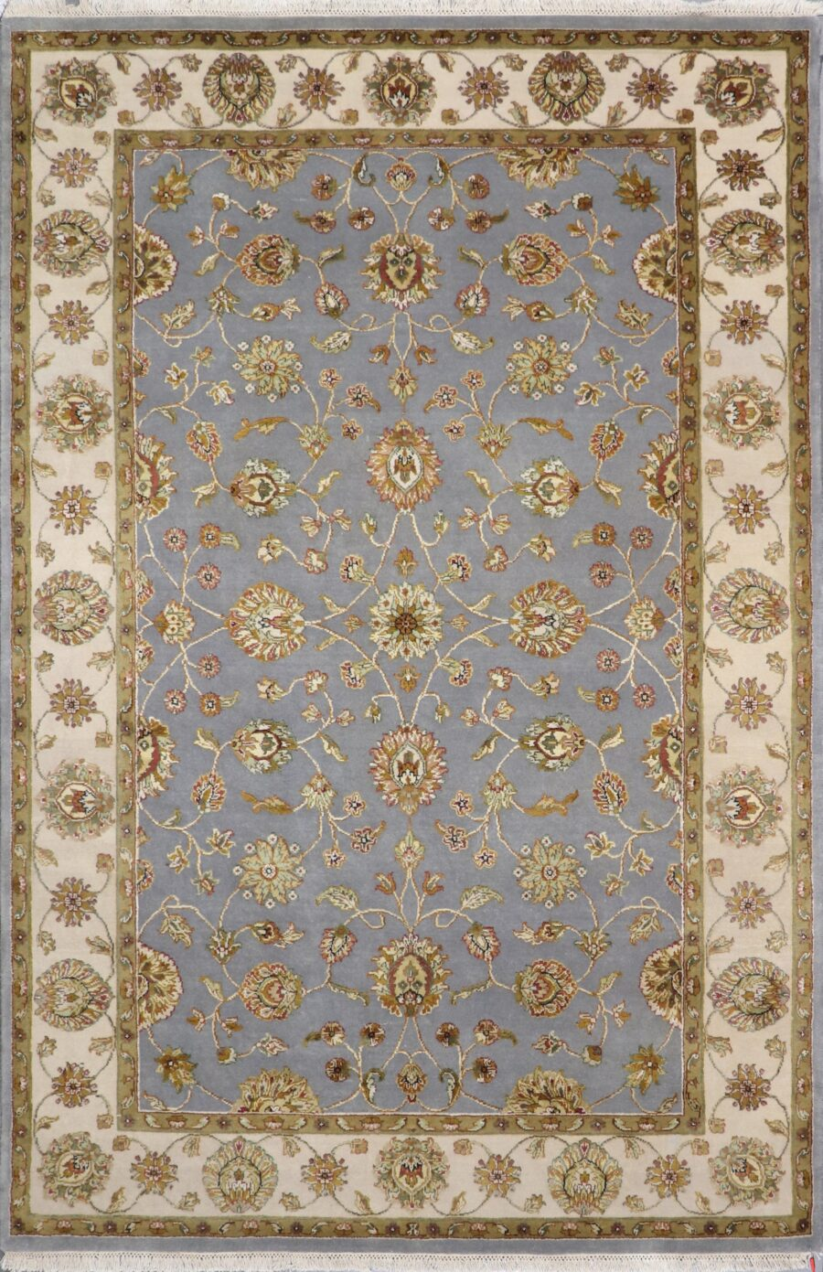 """5'11""""x9' Traditional Gray Tabriz Wool & Silk Hand-Knotted Rug - Direct Rug Import   Rugs in Chicago, Indiana,South Bend,Granger"""