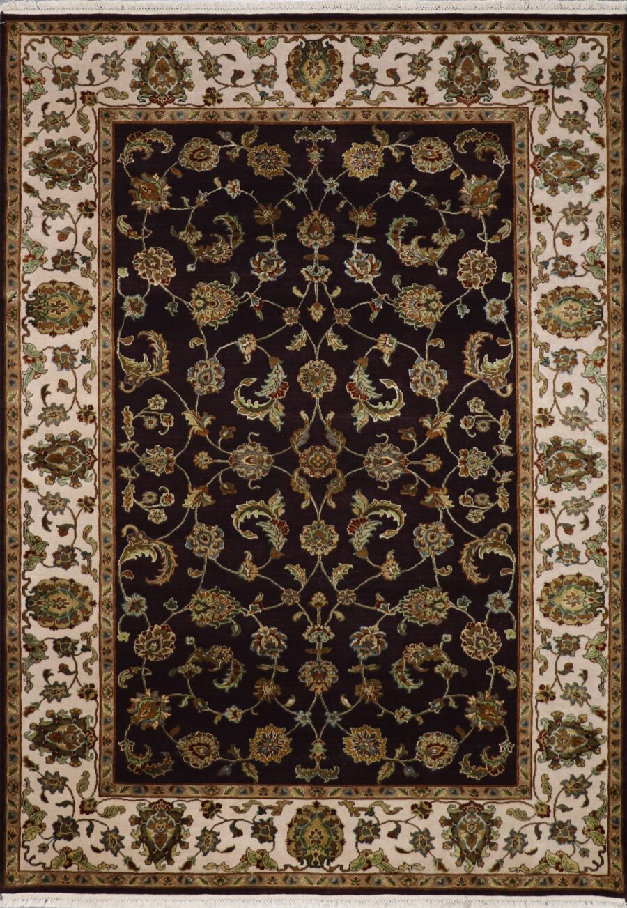 """6'3""""x8'10"""" Traditional Brown Tabriz Wol & Silk Hand-Knotted Rug - Direct Rug Import 