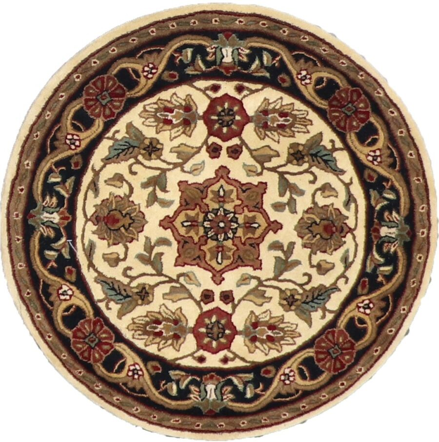 3'x3' Decorative Ivory Round Wool Rug - Direct Rug Import | Rugs in Chicago, Indiana,South Bend,Granger