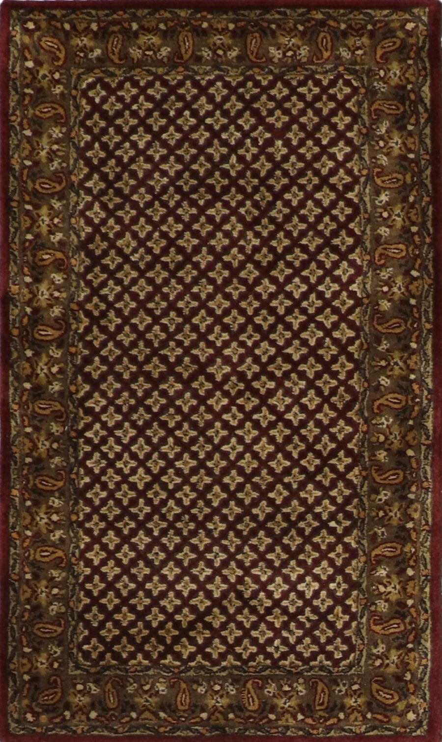 """3'x5'1"""" Decorative Burgundy Wool Hand-Tufted Rug - Direct Rug Import 