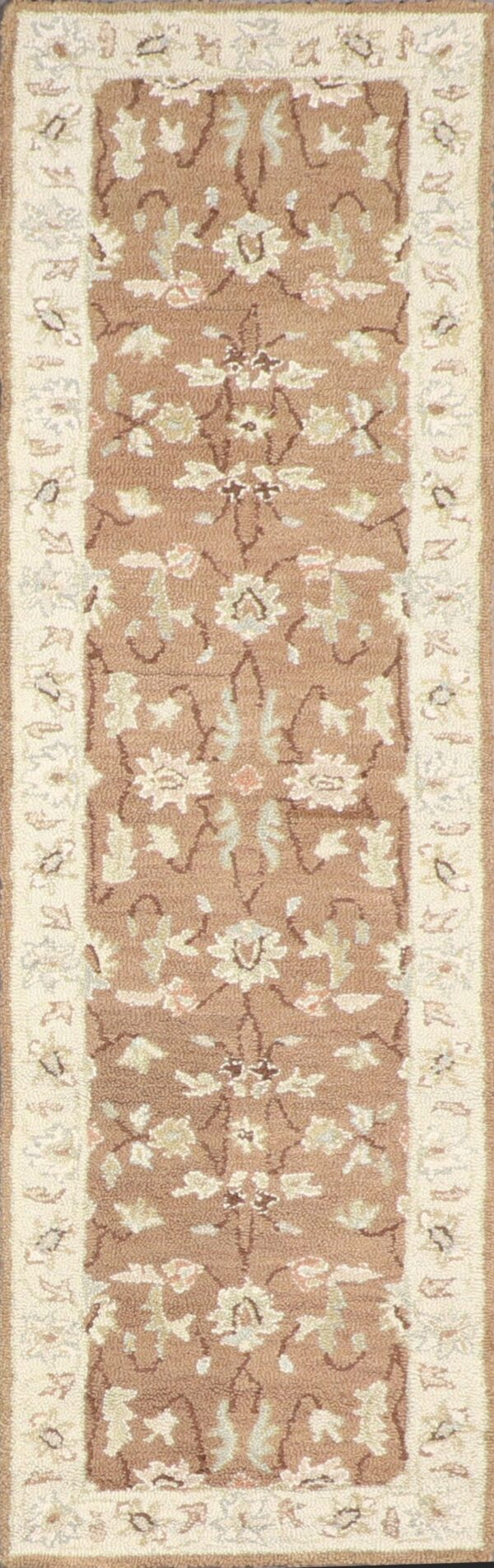"""2'3""""x7'4"""" Decorative Brown Hook Wool Hand-Tufted Rug - Direct Rug Import 