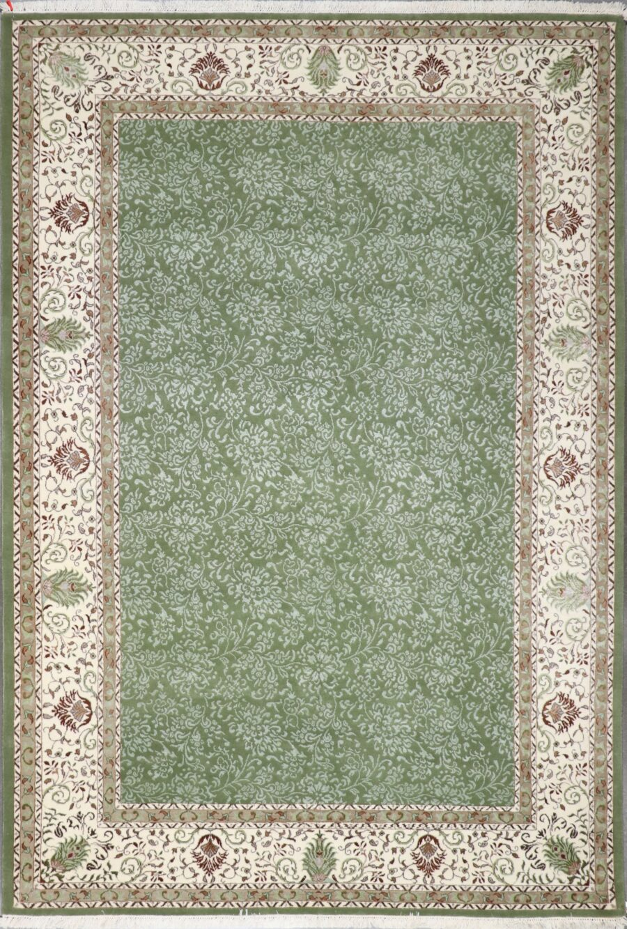 """6'5""""x9'3"""" Decorative Green Wool & Silk Hand-Knotted Rug - Direct Rug Import   Rugs in Chicago, Indiana,South Bend,Granger"""