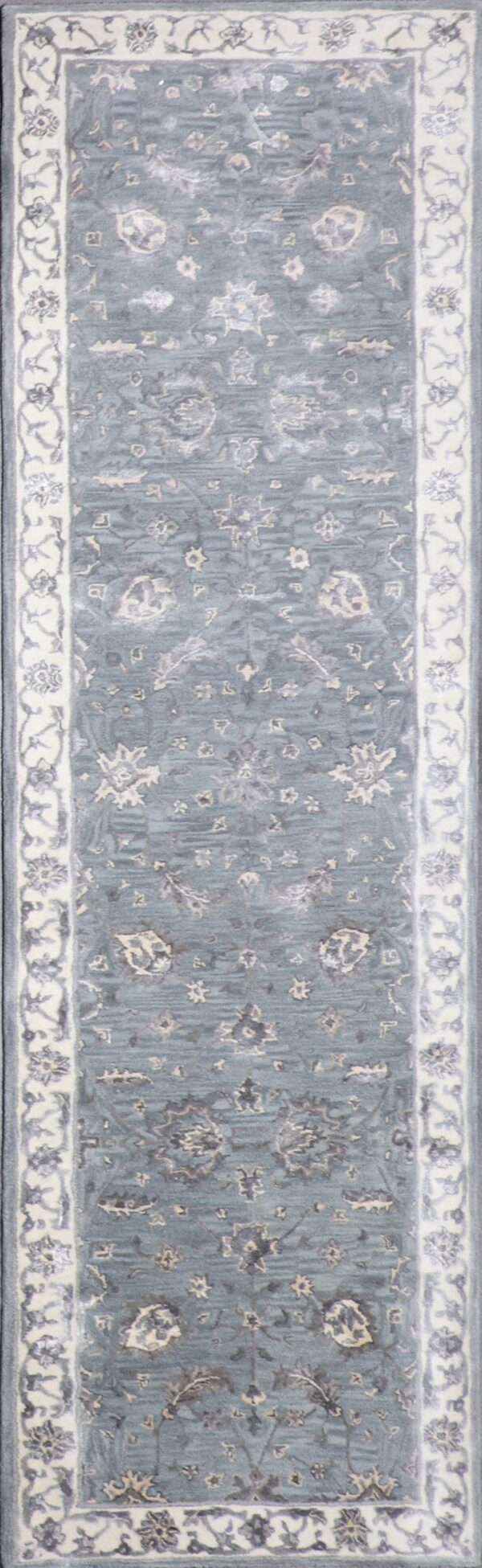 """2'10""""x10' Decorative Vintage Gray Wool & Silk Rug - Direct Rug Import 