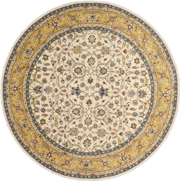 """8'1""""x8'1"""" Decorative Round Wool & Silk Hand-Tufted Rug - Direct Rug Import 