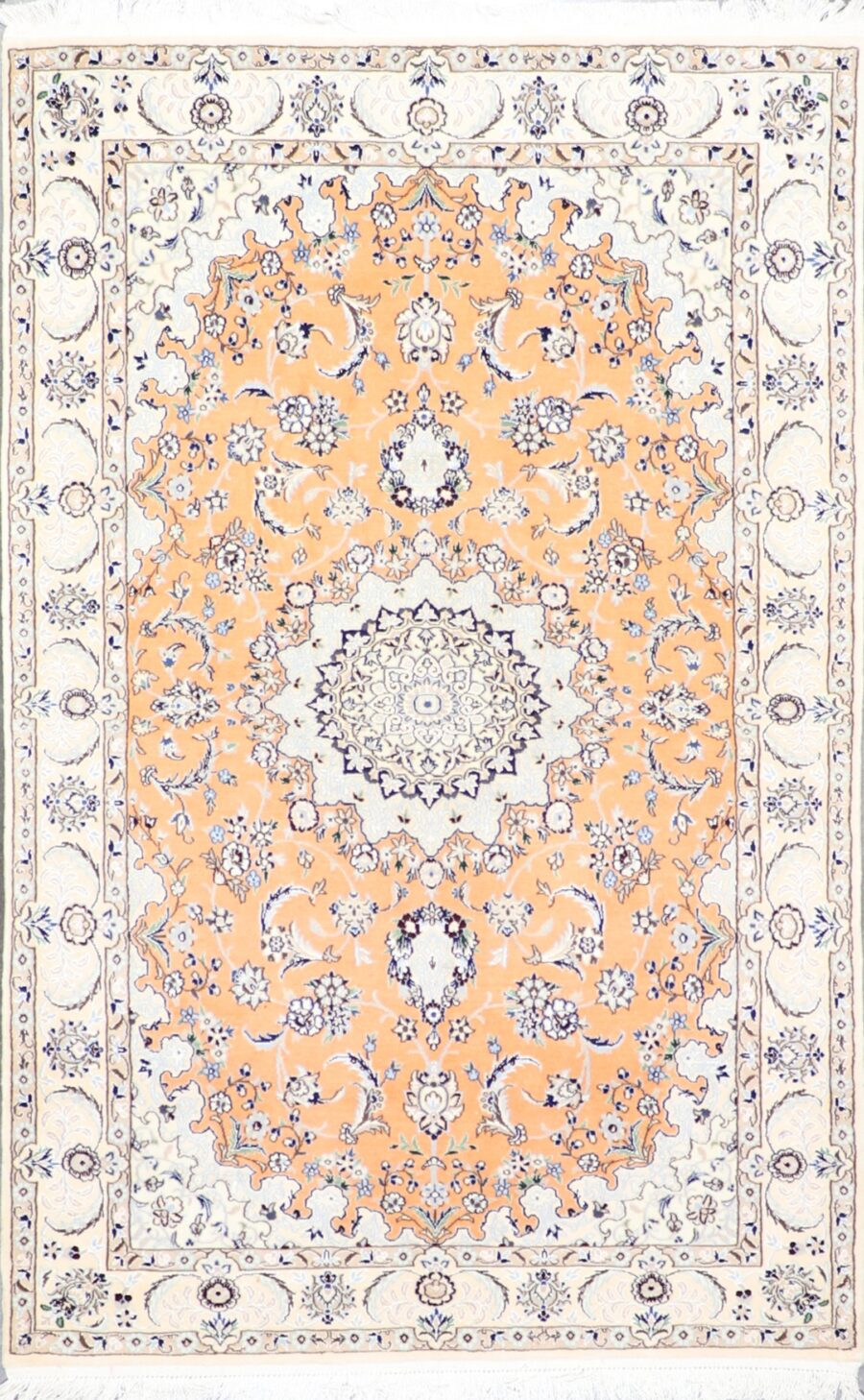 """4'4""""x7' Traditional Persian Tabriz Orange-Gold Wool & Silk Hand-Knotted Rug - Direct Rug Import   Rugs in Chicago, Indiana,South Bend,Granger"""
