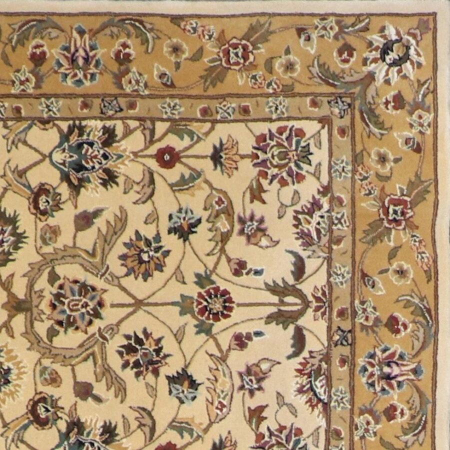 """5'6""""x5'7"""" Traditional Tan Wool Hand-Tufted Rug - Direct Rug Import 