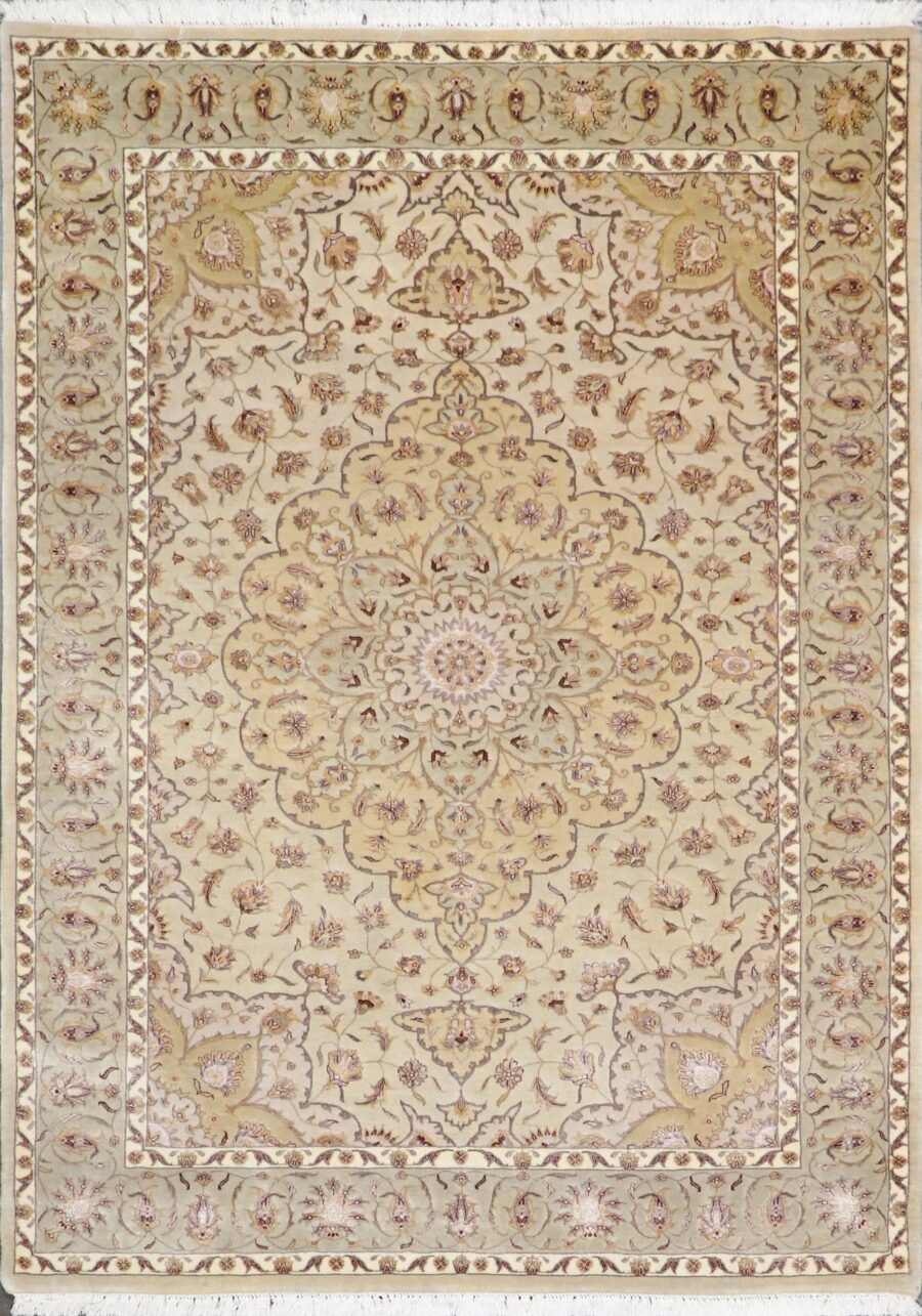 """5'8""""x7'9"""" Traditional Ivory Tabriz Wool& Silk Hand-Knotted Rug - Direct Rug Import 