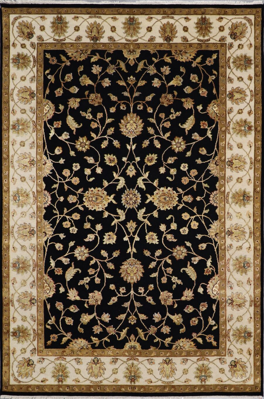 """6'2""""x9'2"""" Traditional Black Kashan Wool & Silk Hand-Knotted Rug - Direct Rug Import 