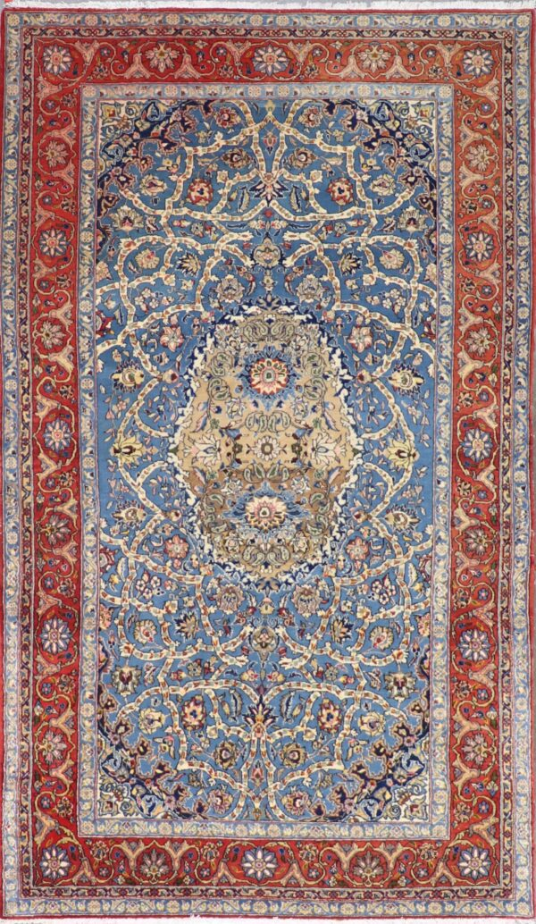"""5'3""""x9'2"""" Traditional Teal Wool Hand-Knotted Rug - Direct Rug Import   Rugs in Chicago, Indiana,South Bend,Granger"""