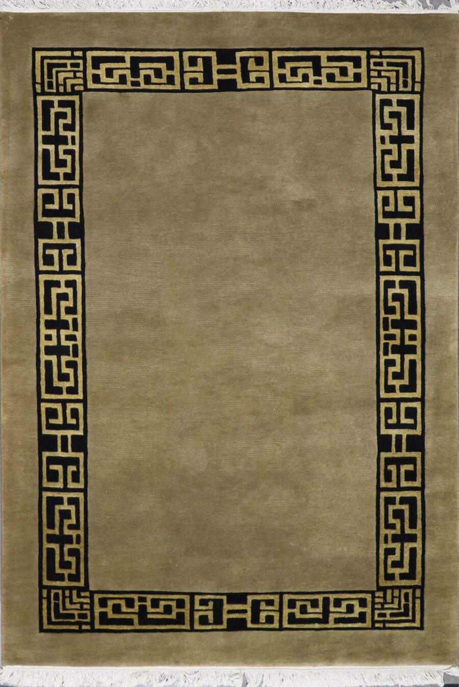 """4'7""""x7'11"""" Decorative Greek Key Nepal Wool Hand-Knotted Rug - Direct Rug Import 