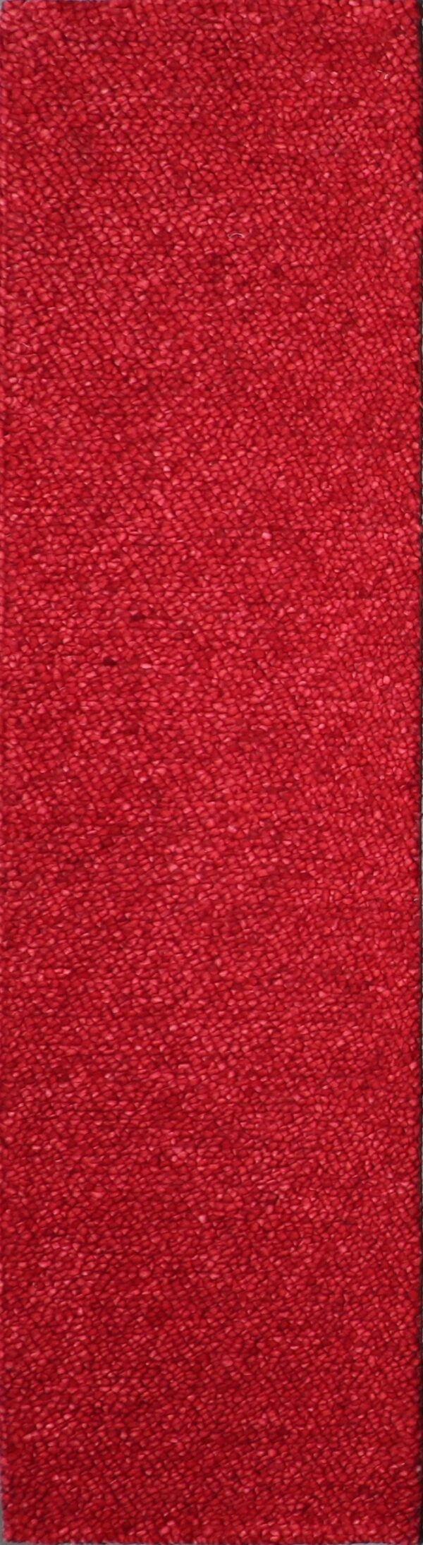 """2'5""""x9'4"""" Contemporary Loop Red Wool Hand-Tufted Rug - Direct Rug Import 