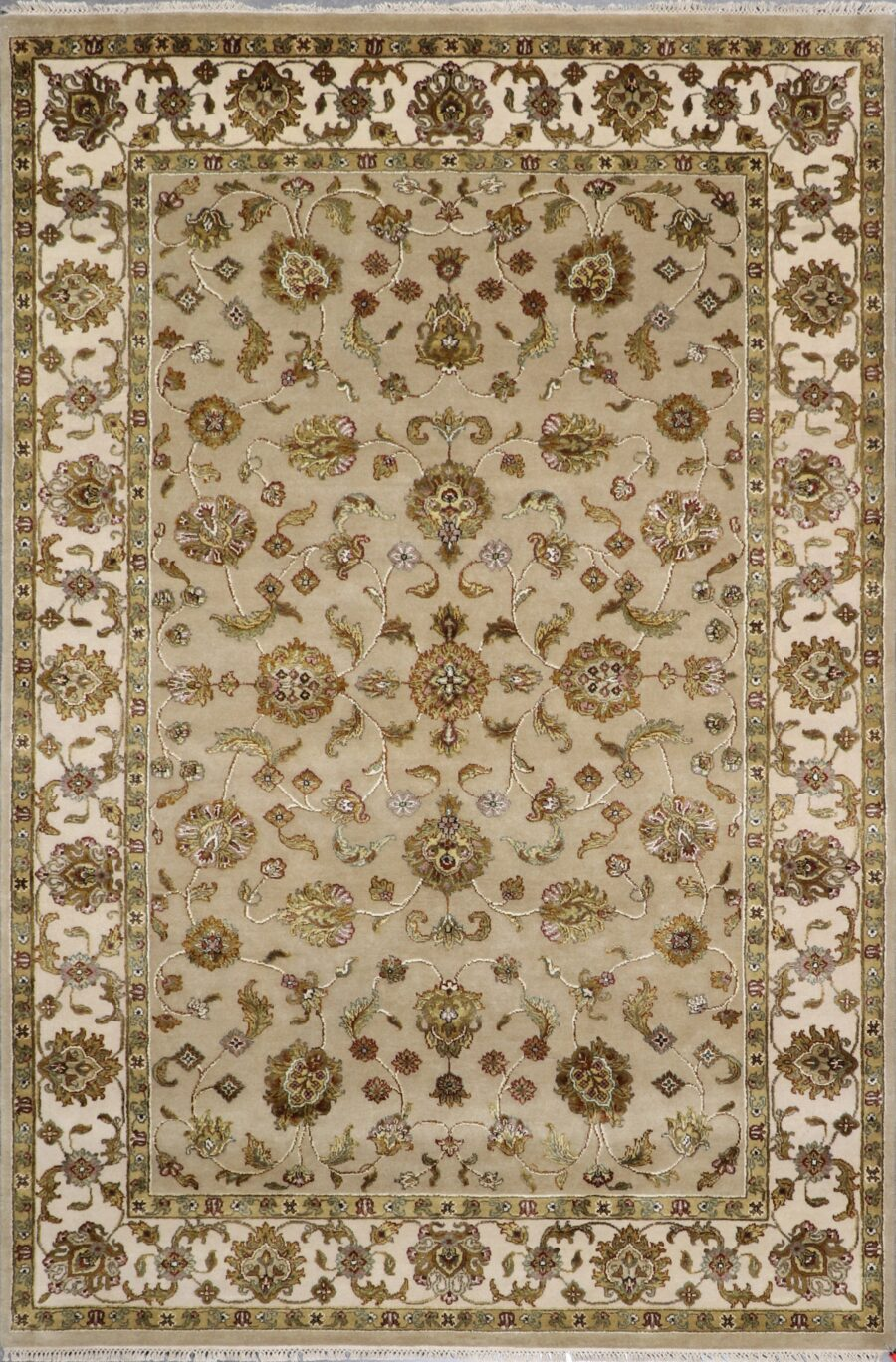 """6'x8'11"""" Traditional Tan Tabriz Wool & Silk Hand-Knotted Rug - Direct Rug Import   Rugs in Chicago, Indiana,South Bend,Granger"""