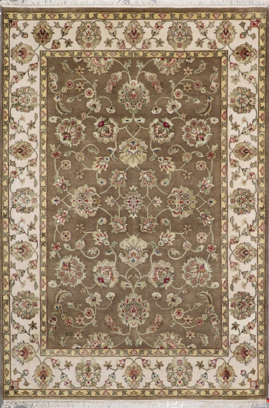 """6'1""""x8'10"""" Traditional Tan Wool&silk Hand-Knotted Rug - Direct Rug Import   Rugs in Chicago, Indiana,South Bend,Granger"""