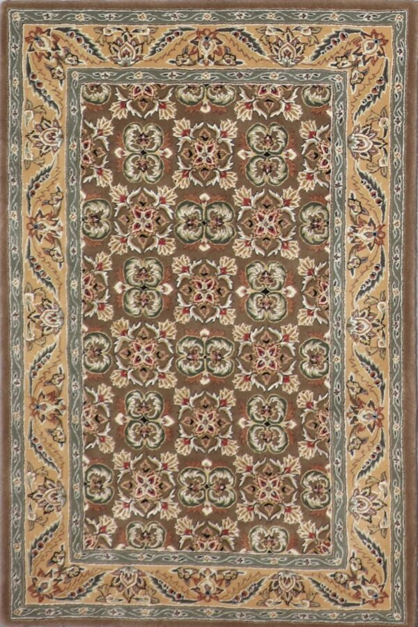 """3'8""""x5'7"""" Traditional Brown Wool & Silk Hand-Tufted Rug - Direct Rug Import 