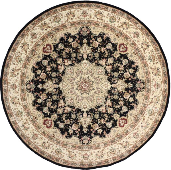 """9'11""""x9'11"""" Traditional Tabriz Black Round Wool & Silk Hand-Tufted Rug - Direct Rug Import 