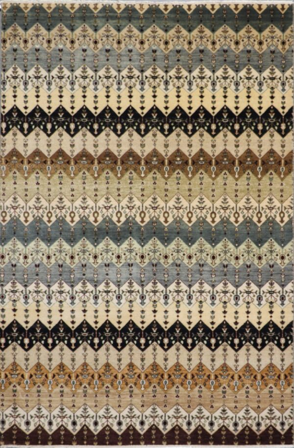"""6'1""""x8'9"""" Contemporary Multi-Colored Gabbeh Wool Hand-Knotted Rug - Direct Rug Import 
