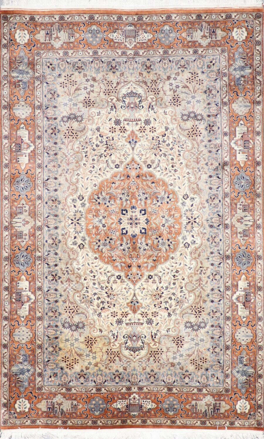 """4'4""""x7' Traditional Orange Wool & Silk Hand-Knotted Rug - Direct Rug Import   Rugs in Chicago, Indiana,South Bend,Granger"""