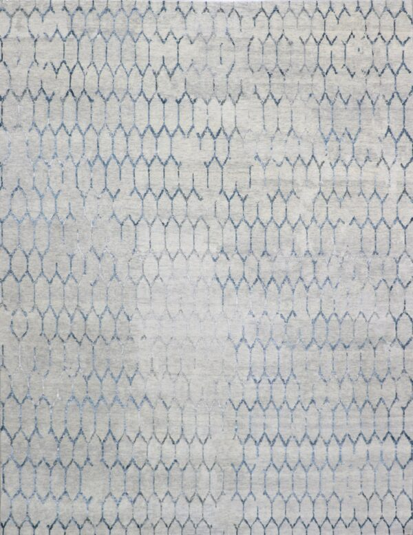 """9'1""""x11'7"""" Contemporary Overall Gray Wool & Silk Hand-Knotted Rug - Direct Rug Import 