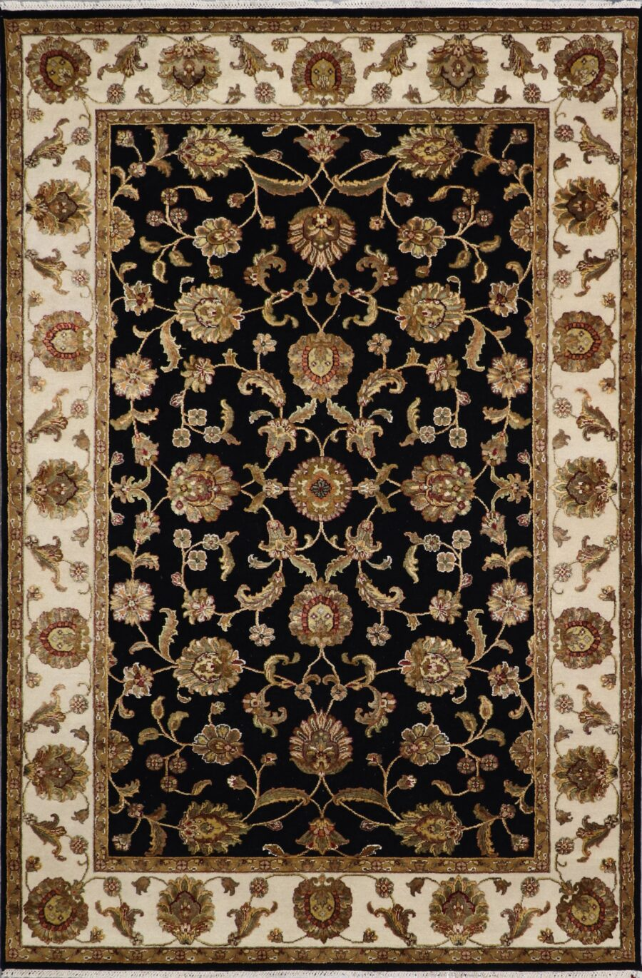 """6'x9'1"""" Traditional Black Kashan Wool & Silk Hand-Knotted Rug - Direct Rug Import   Rugs in Chicago, Indiana,South Bend,Granger"""