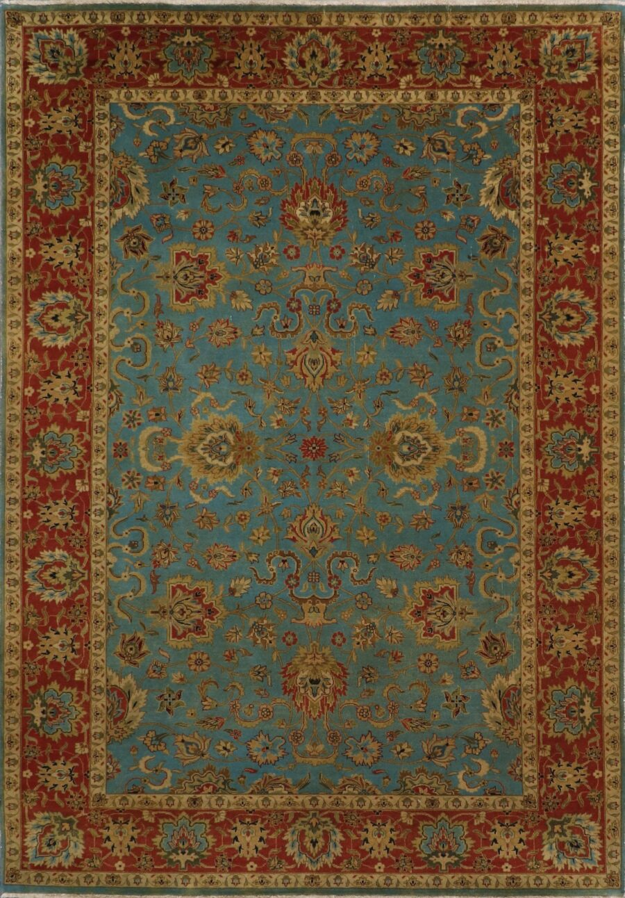 """6'1""""x8'9"""" Traditional Teal Classic Wool&Silk Hand-Knotted Rug - Direct Rug Import 