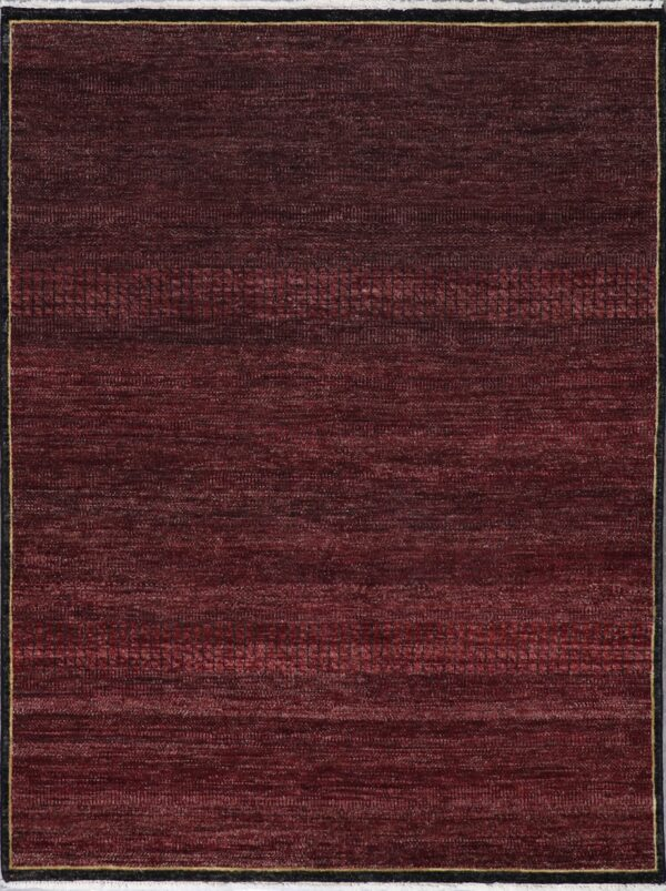 """4'11""""x6'7"""" Contemporary Burgundy Nepal Wool Hand-Knotted Rug - Direct Rug Import   Rugs in Chicago, Indiana,South Bend,Granger"""