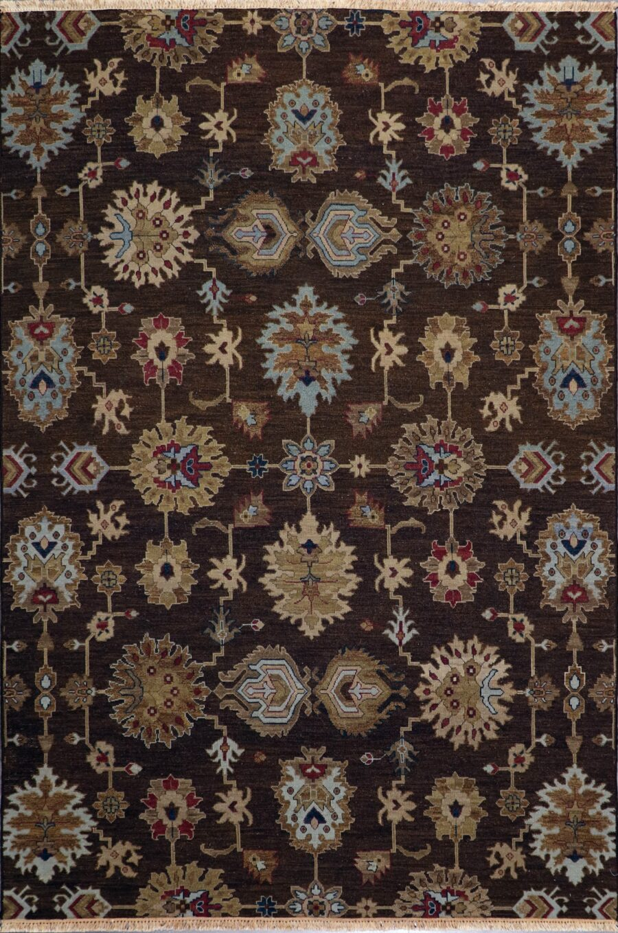 """5'11""""x8'11""""   Casual Flat weave Brown Wool Hand-Knotted Rug - Direct Rug Import 