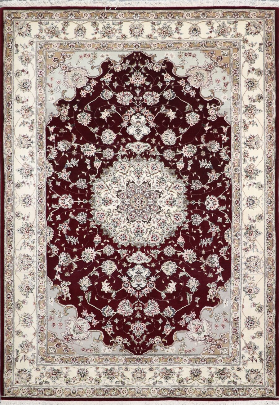 """6'3""""x8'10"""" Traditional Burgundy Tabriz Wool & Silk Hand-Knotted Rug - Direct Rug Import 